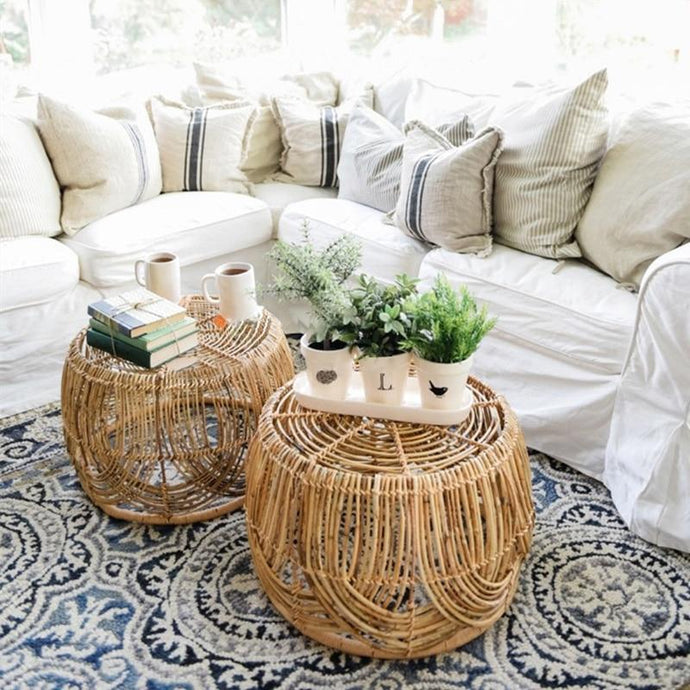 Ubangi Round Rattan Reversible Coffee Table and Basket-The Queen of Rattan-The Queen of Rattan