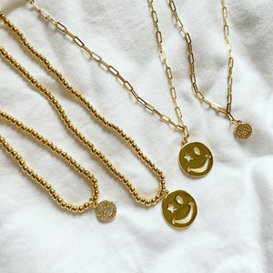 Star Eye + Pave Smiley Charm Necklace