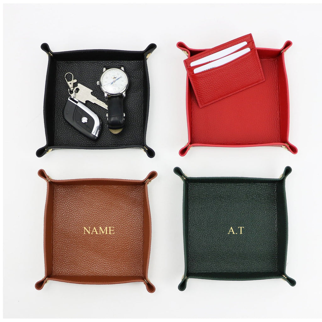 Personalized Leather Valet Tray Catchall