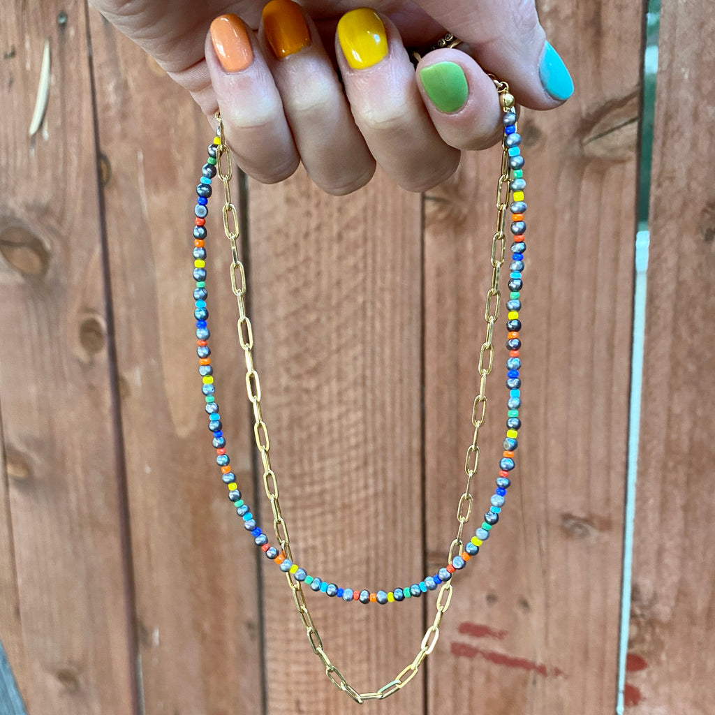 Beaded Pearl Lou Chain Necklace Stack