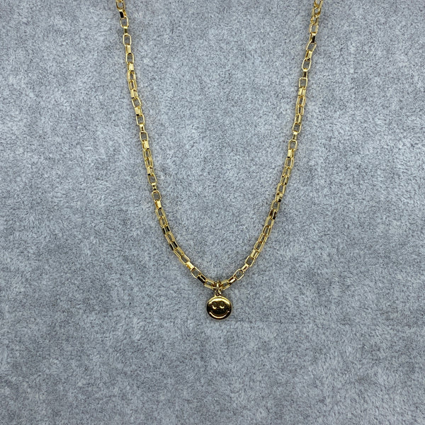 Mini Smiley Box Chain Choker Necklace