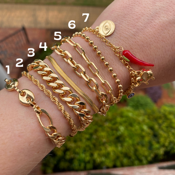 Gold Chain Bracelet Stack