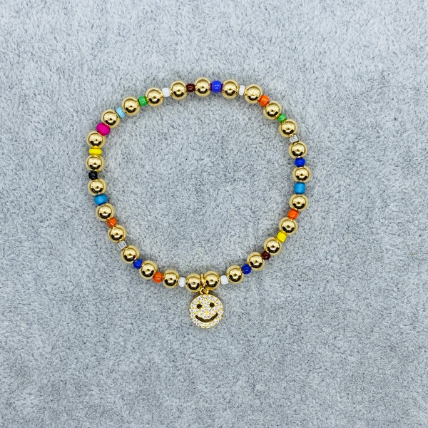 Pave Smiley Gold Ball Rainbow Bracelet