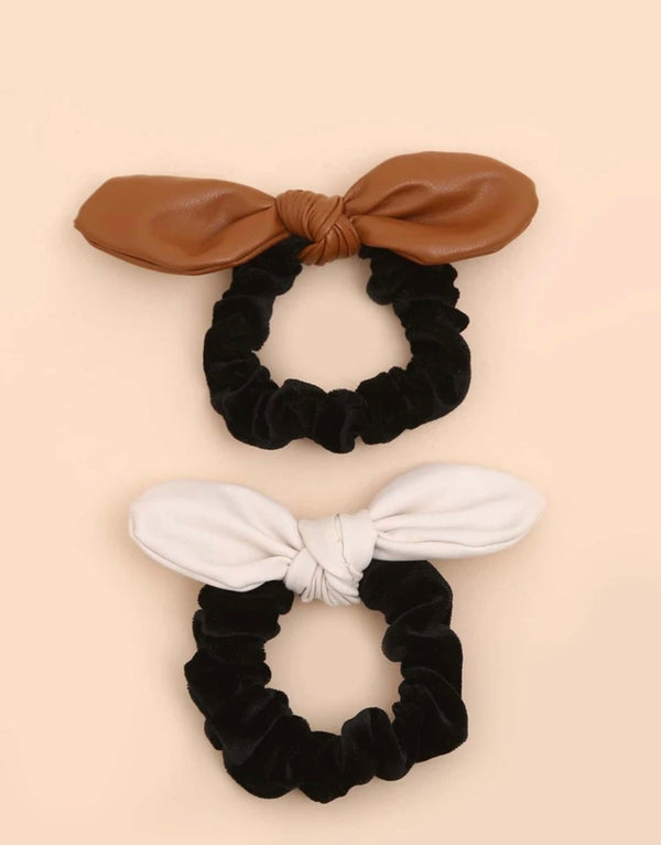 Leather Velvet Scrunchie Set