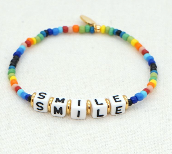 Smile Beaded Rainbow Bracelet