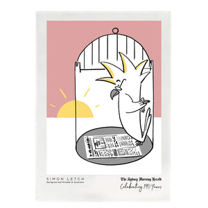 For the 190 year anniversary of The Sydney Morning Herald, Illustrator Simon Letch illustrated this Sydney scene with a Cockatoo reading our paper as the sun rises over his cage featuring the iconic Sydney Harbou...