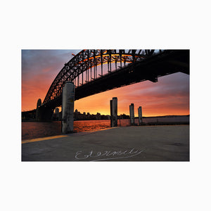Eternity is written on the pier underneath the Sydney Harbour Bridge to remember Arthur Stace. 28 July 2017
