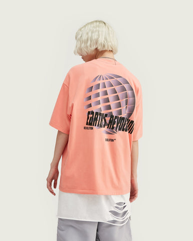 T-shirt Streetwear <br> oversize stampata - Rosa