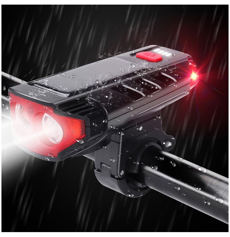 USB/Solar Rechargeable Bicycle Headlights 2*T6 LED and 6 type-Horns