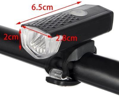 Rechargeable 300 Lumens Waterproof LED Bicycle Front Lights 3 Modes Handlebar Flashlight,Black - Bicycle and Me