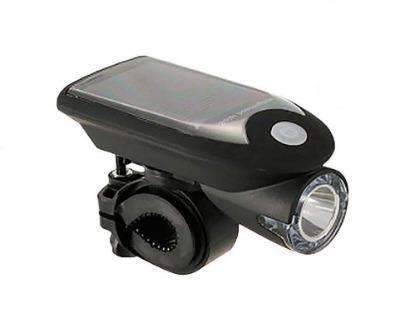 Bicycle LED Front Light with Solar Panel Built-in Rechargeable Battery,Black - Bicycle and Me