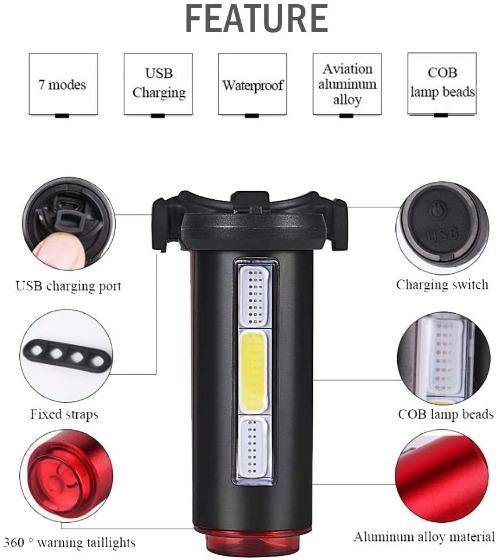 USB Rechargeable Bicycle Tail Light, 360 Degree Safety Beam 7 Mode Bicycle Rear Light Warning Cycling Police Light - Bicycle and Me