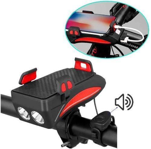 4 in 1 Bicycle Phone Holder with Charger + Bike Light + Rechargeable 2000mAh Power Bank + Bicycle Horn (RED) - Bicycle and Me