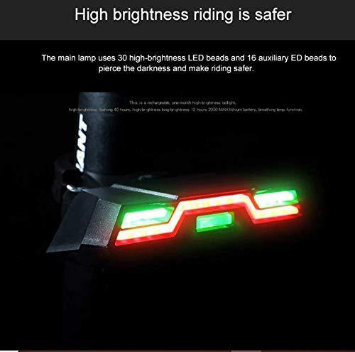 USB Rechargeable High Brightness Bicycle Rear Light Red/Green/Blue, Powerful LED Bicycle Tail Light Rechargeable with 6 Steady/Flash Modes - Bicycle and Me