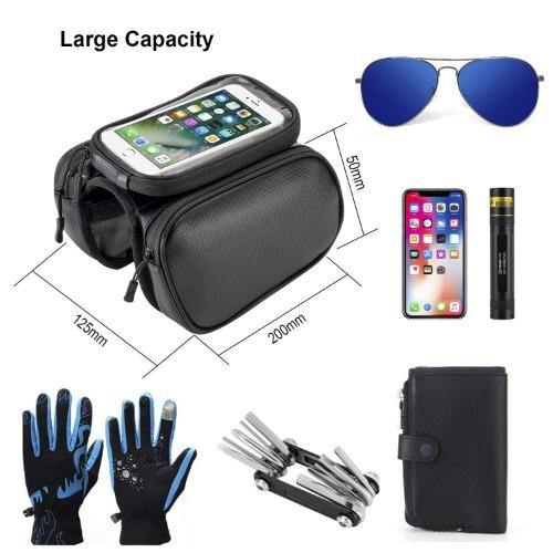 Waterproof Bicycle Frame Phone Bag Pannier Front Top Tube Pack TPU Sensitive Touchscreen Double Pouch Storage Bag (Color May Vary) - Bicycle and Me