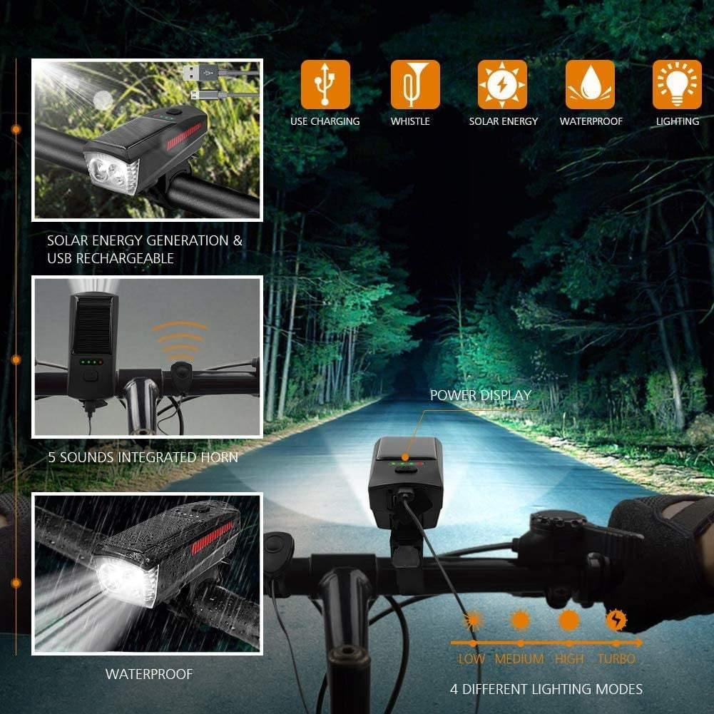 USB/Solar Rechargeable Bicycle Headlights 2*T6 LED Bicycle front Light with Horn - Bicycle and Me