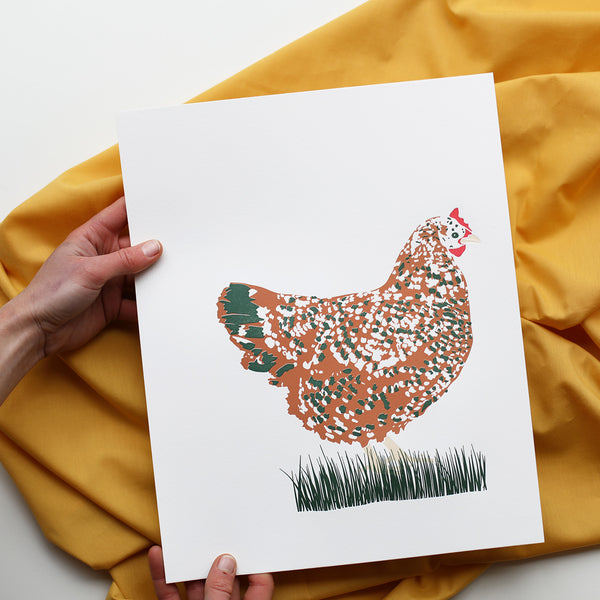 Hen in Grass Print