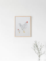 Hen and Chick Print