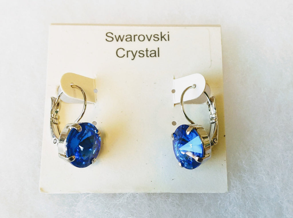 Swarovski crystal prong setting with lever backs