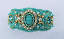 Load image into Gallery viewer, Turquoise Bead Embroidered Cuff Bracelet