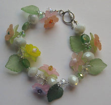 Load image into Gallery viewer, Flower Petal and Swarovski Crystal Bracelet - Lively Accents
