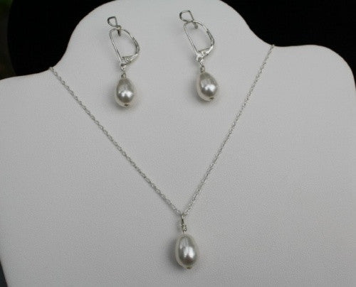 Simple Pearl Drop Necklace and Earring Set - Lively Accents