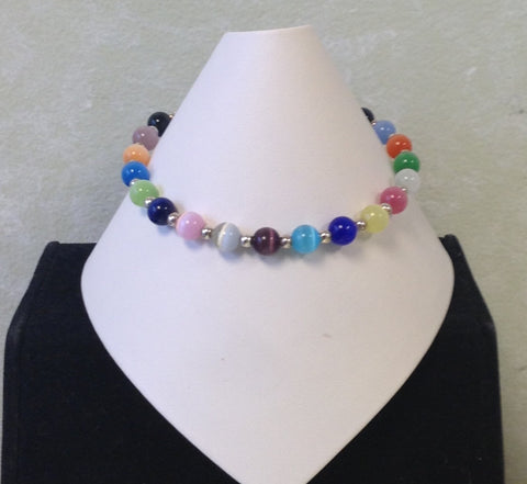 6mm Multi Colored Beaded Bracelet