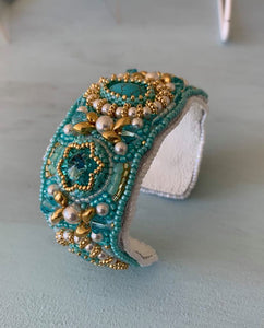 Turquoise Bead Embroidered Cuff Bracelet