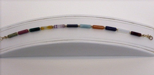 Multi Gemstone Tube Bracelet - Lively Accents