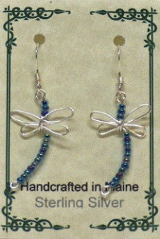 Sterling Silver Wire Dragonfly Earrings