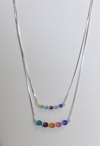 Mother's and or Family necklace with Swarovski crystals