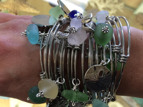 Sea Glass Bangle with Charm