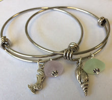 Load image into Gallery viewer, Sea Glass Bangle with Charm - Lively Accents
