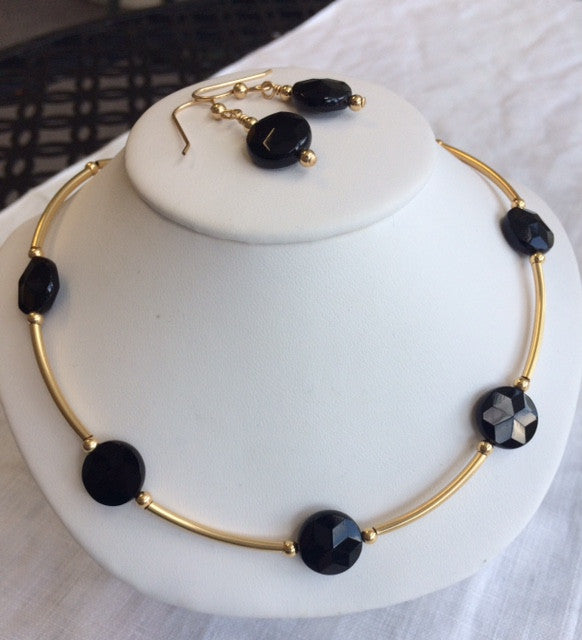 Black Onyx and 14k Gold Filled Necklace and Earring Set