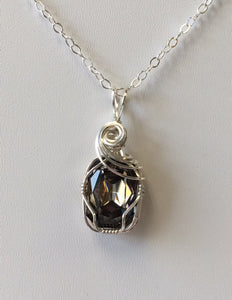 Vintage Swarovski Crystal Black Diamond Pendant - Lively Accents