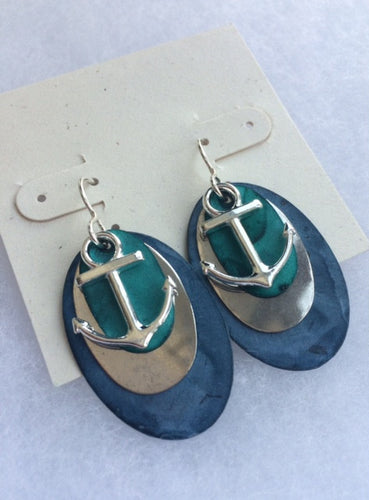 Blue Patina Layered Earrings - Lively Accents