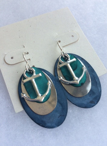 Blue Patina anchor earrings