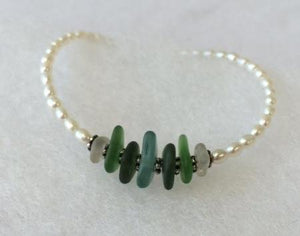 Pearl and Sea Glass Bracelet - Lively Accents