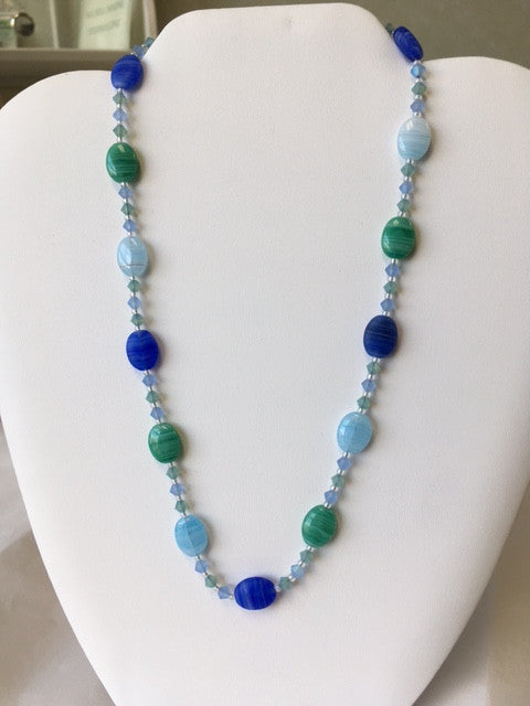 Blue and Green Hurricane Glass Beaded Necklace - Lively Accents