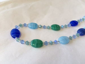 Blue and Green Hurricane Glass and Swarovski Crystal Necklace - Lively Accents