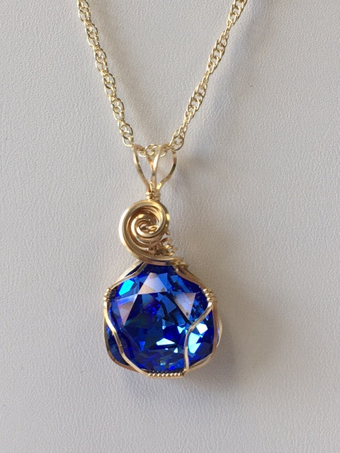 Sapphire Swarovski Crystal Wire Wrapped Necklace