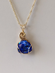 Sapphire Swarovski Crystal Wire Wrapped Necklace - Lively Accents