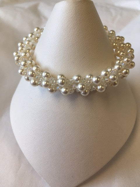Spiral Bracelet with Swarovski Pearls