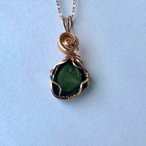 Maine Green Tourmaline Rose Gold Necklace - Lively Accents