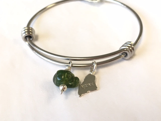 Maine Tourmaline and Charm Bangle - Lively Accents