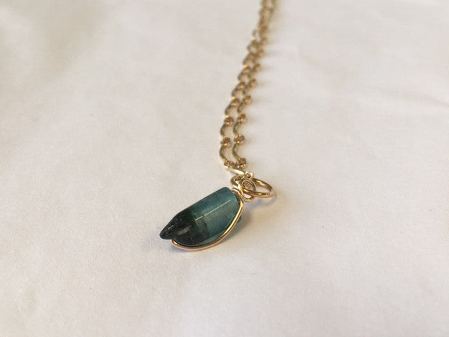 Petite Blue Maine Tourmaline Pendant - Lively Accents