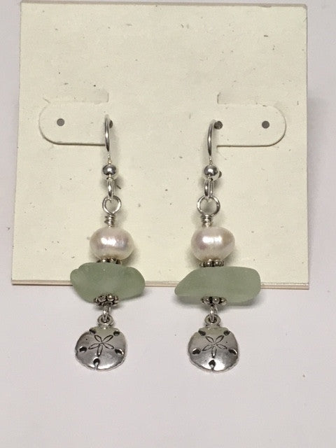 Sea glass with Freshwater Pearls and Sand Dollar