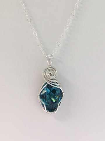 Swarovski Crystal Indigo Wire Wrapped Pendant