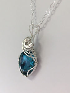 Swarovski Crystal Indigo Wire Wrapped Pendant - Lively Accents