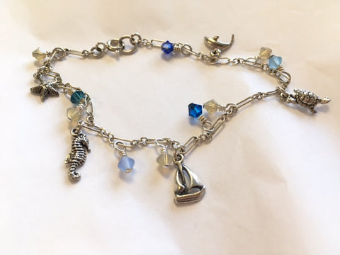 Nautical Charm Bracelet with Swarovski Crystal Accents